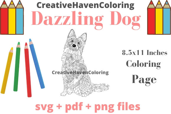 Print on Demand: Dazzling Dogs Coloring Page #17 Graphic Coloring Pages & Books Adults By creativehavencoloring