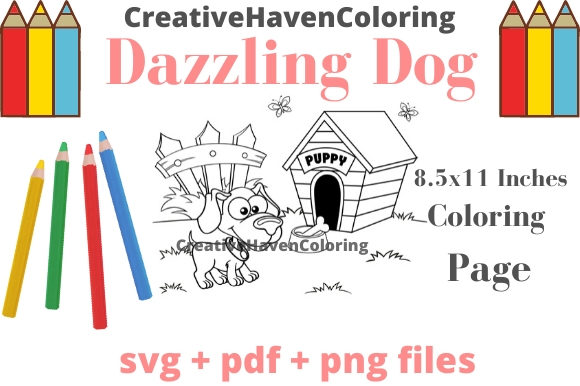 Print on Demand: Dazzling Dogs Coloring Page #9 Graphic Coloring Pages & Books Adults