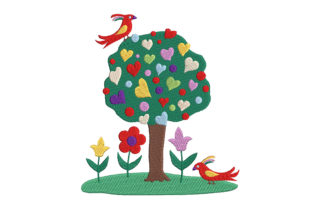 Print on Demand: Designed by Kids: Tree Flowers and Birds Forest & Trees Embroidery Design By Embroidery Shelter