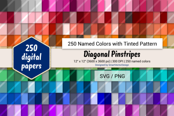 Print on Demand: Diagonal Pinstripes Paper - 250 Colors Graphic Backgrounds By SmartVectorDesign