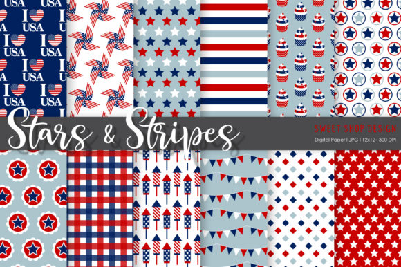 Digital Paper Stars and Stripes Graphic Patterns By Sweet Shop Design