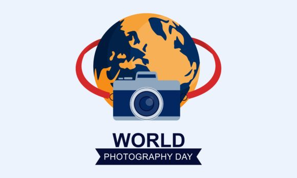 Flat Design World Photography Day Logo Graphic Holidays By DEEMKA STUDIO