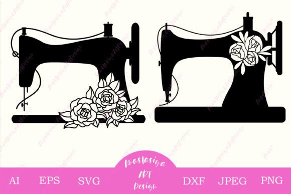 Floral Sewing Machine Silhouette Graphic Crafts By AnastasiyaArtDesign