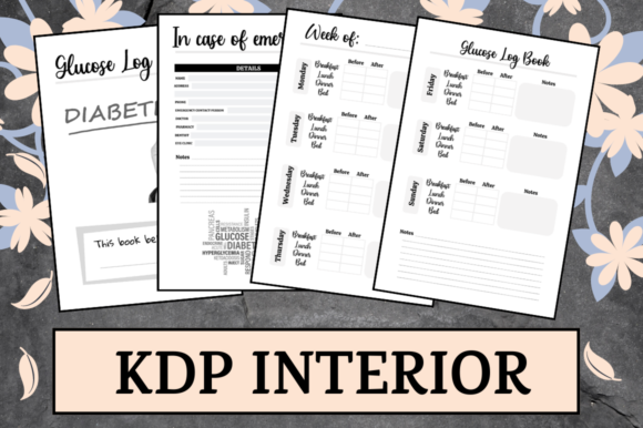 Print on Demand: Glucose Log Book | KDP Interior Graphic KDP Interiors By Hungry Puppy Studio