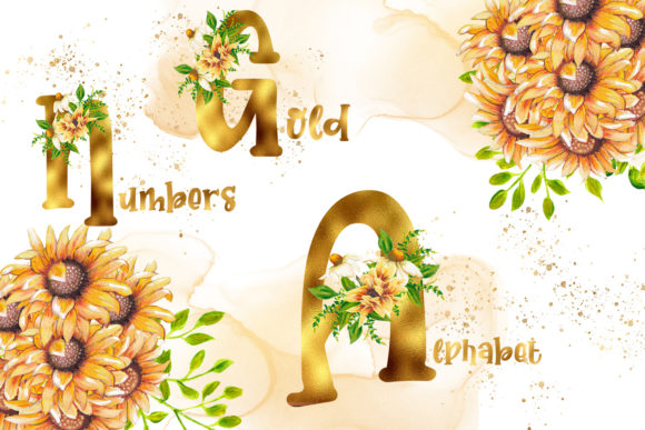 Print on Demand: Gold Sunflower Alphabet and Numbers Graphic Illustrations By Andreea Eremia Design