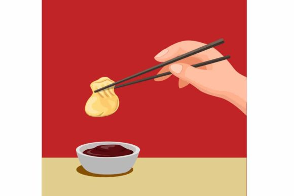 Print on Demand: Hand Dumpling with Chopstick to Sauce Graphic Illustrations By aryo.hadi