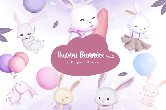 Happy Bunnies Clipart Vol.2   Graphic Illustrations By alolieli