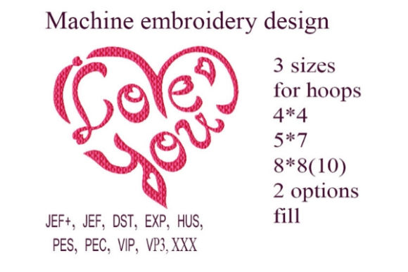 I Love You Heart Valentine's Day Embroidery Design By ImilovaCreations