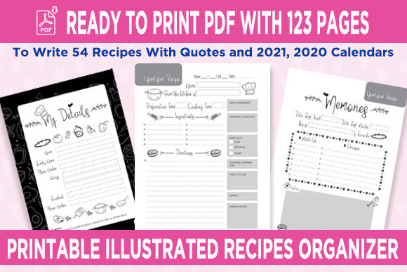 Print on Demand: KDP Recipes Organizer Notebook Planner Graphic KDP Interiors By Queen Dreams Store