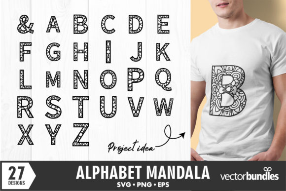Print on Demand: Mandala Alphabet Initial a to Z Graphic Crafts By vectorbundles