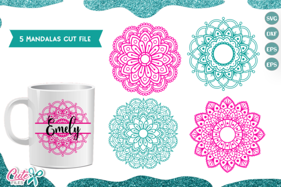 Mandala Set of 5 Cut Files Graphic Illustrations By Cute files