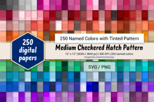Print on Demand: Med Checkered Hatch Paper - 250 Colors Graphic Backgrounds By SmartVectorDesign