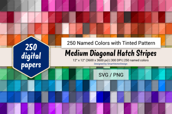 Print on Demand: Med Diag Hatch Stripes - 250 Colors Graphic Backgrounds By SmartVectorDesign