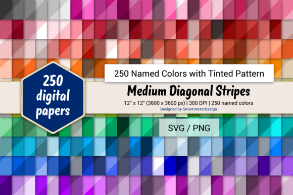 Print on Demand: Med Diag Stripes Paper - 250 Colors Graphic Backgrounds By SmartVectorDesign