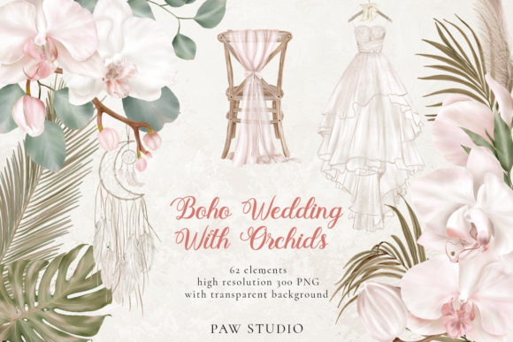 Print on Demand: Orchid Boho Wedding Dry Leaves Clipart Grafik Illustrationen von PawStudio