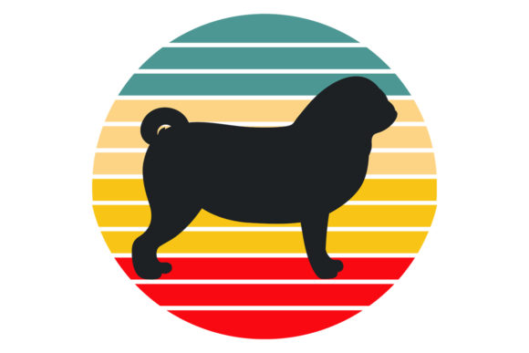 Print on Demand: Pug Dog Retro Sunset File Graphic Logos By SunandMoon
