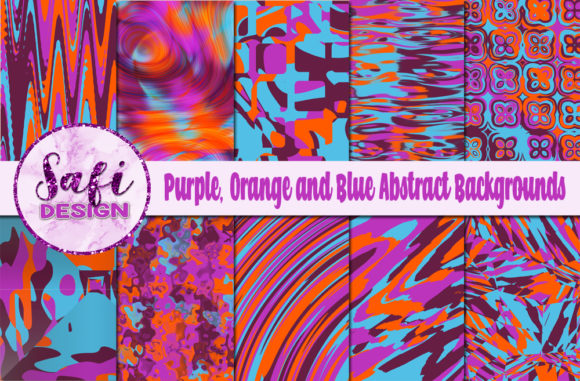Print on Demand: Purple Orange & Blue Abstract Background Graphic Backgrounds By Safi Designs