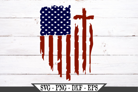 Red and Blue Distressed American Flag Graphic Crafts By Crafters Market Co