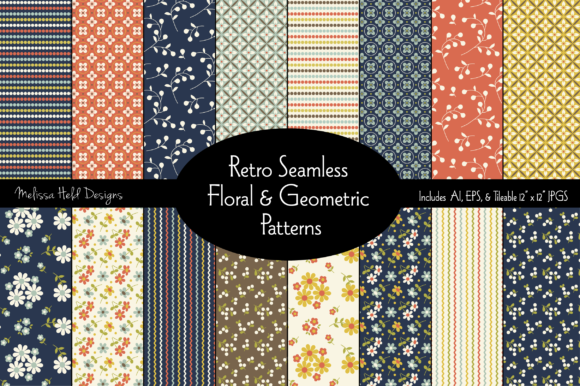 Seamless Retro Floral & Geometric Pattern Graphic Patterns By Melissa Held Designs