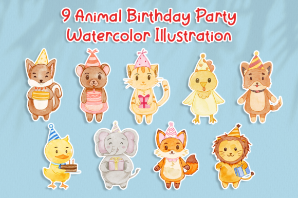 Set of Cute Animal Birthday Watercolor Graphic Illustrations By attypestudio