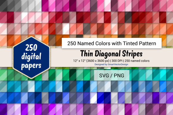 Print on Demand: Thin Diag Stripes Paper - 250 Colors Graphic Backgrounds By SmartVectorDesign