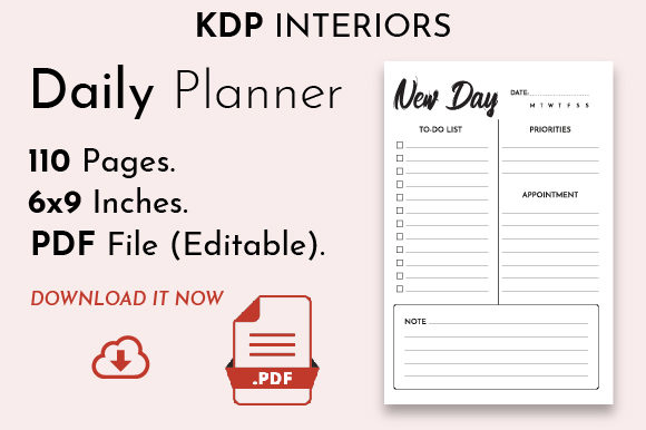 Undated Daily Planner [KDP Interior] Graphic KDP Interiors By DoMePlanners