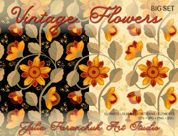 Vintage Flowers Clipart Graphic Illustrations By Юлия Фаранчук