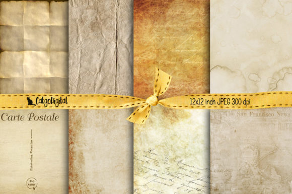 Print on Demand: Vintage Old Papers Digital Papers Graphic Textures By CatgoDigital
