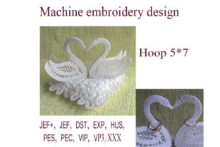 Wedding Ring  Pillow  Swan Sewing & Crafts Embroidery Design By ImilovaCreations