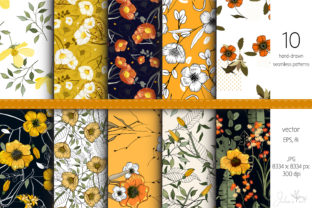 Yellow Flowers - 10 Vector Patterns Graphic Patterns By Juliasart