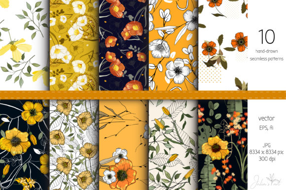 Yellow Flowers - 10 Vector Patterns Grafik Muster von Juliasart