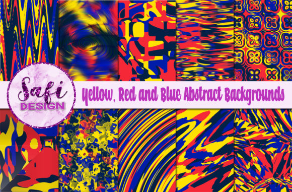 Print on Demand: Yellow, Red and Blue Abstract Background Graphic Backgrounds By Safi Designs