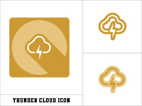 Print on Demand: Thunder Cloud Icon Graphic Icons By novieart 99