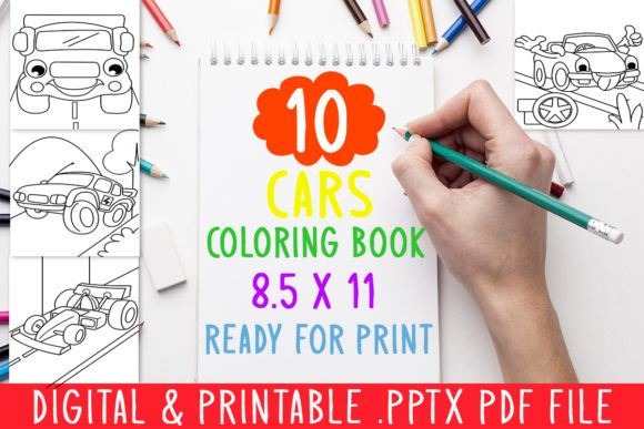 Print on Demand: 10 Cars Coloring Book for Kids Graphic Graphic Coloring Pages & Books Kids By DesignsBundles - Image 1