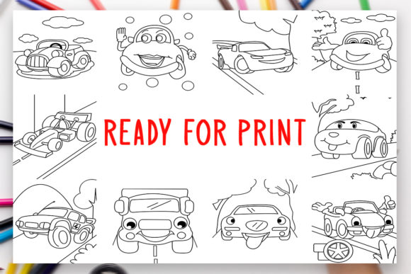 Print on Demand: 10 Cars Coloring Book for Kids Graphic Graphic Coloring Pages & Books Kids By DesignsBundles - Image 2