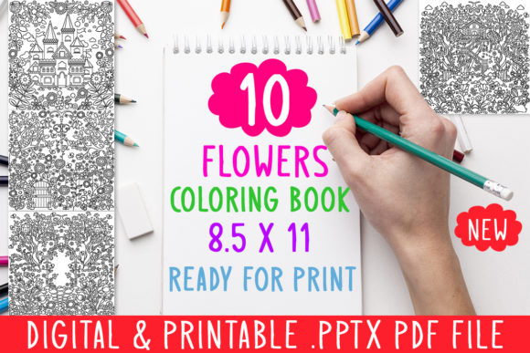 10 Cute Flowers Coloring Book for Adults Graphic Coloring Pages & Books Adults By DesignsBundles