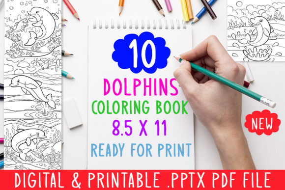 Print on Demand: 10 Dolphins Coloring Book for Kids Graphic Coloring Pages & Books Adults By DesignsBundles - Image 1