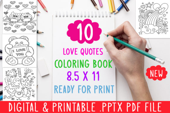 Print on Demand: 10 Love Quotes Coloring Book for Adults Graphic Coloring Pages & Books Adults By DesignsBundles