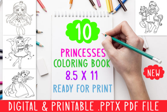 Print on Demand: 10 Princesses Coloring Book for Kids Grafik Ausmalseiten & Malbücher für Kinder von DesignsBundles