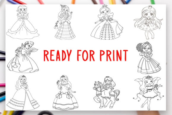 Print on Demand: 10 Princesses Coloring Book for Kids Graphic Coloring Pages & Books Kids By DesignsBundles - Image 2