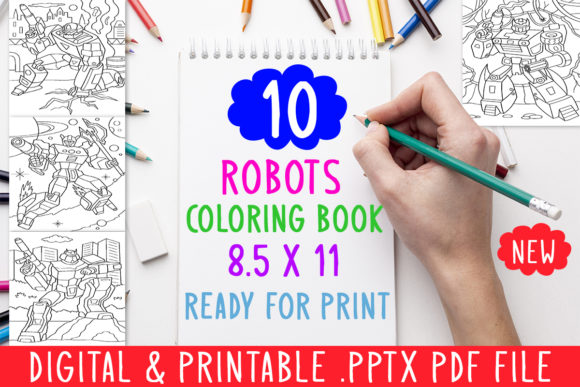 Print on Demand: 10 Robots Coloring Book for Adults Kids Graphic Coloring Pages & Books Adults By DesignsBundles - Image 1
