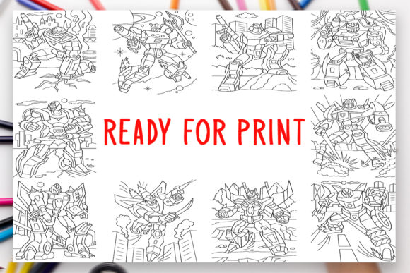 Print on Demand: 10 Robots Coloring Book for Adults Kids Graphic Coloring Pages & Books Adults By DesignsBundles - Image 2