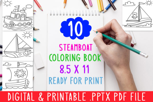 Print on Demand: 10 Steamboat Sea Coloring Book for Kids Graphic Coloring Pages & Books Kids By DesignsBundles - Image 1