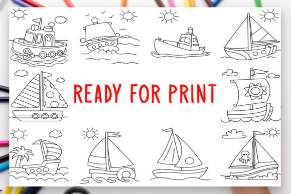 Print on Demand: 10 Steamboat Sea Coloring Book for Kids Graphic Coloring Pages & Books Kids By DesignsBundles - Image 2
