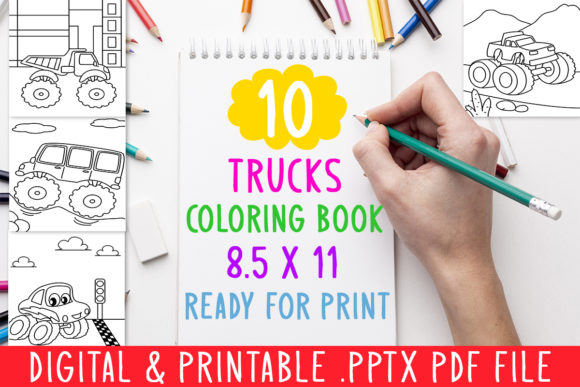 10 Trucks Coloring Book for Kids Graphic Graphic Coloring Pages & Books Kids By DesignsBundles