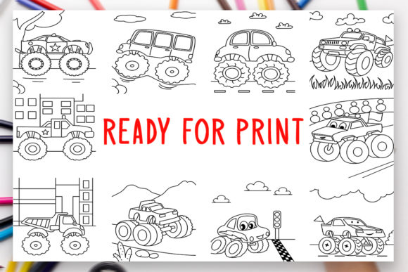Print on Demand: 10 Trucks Coloring Book for Kids Graphic Graphic Coloring Pages & Books Kids By DesignsBundles - Image 2