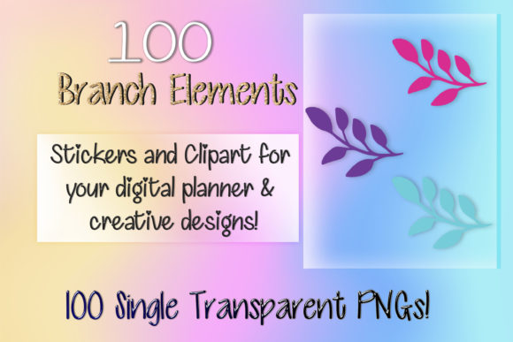 Print on Demand: 100 Branch Elements Digital Stickers Graphic Print Templates By AM Digital Designs