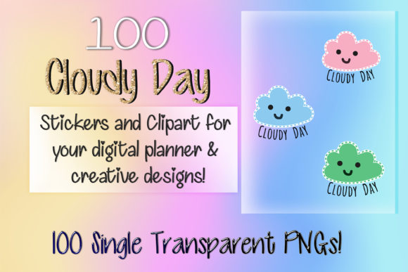 Print on Demand: 100 Cloudy Day Clipart Digital Stickers Graphic Print Templates By AM Digital Designs