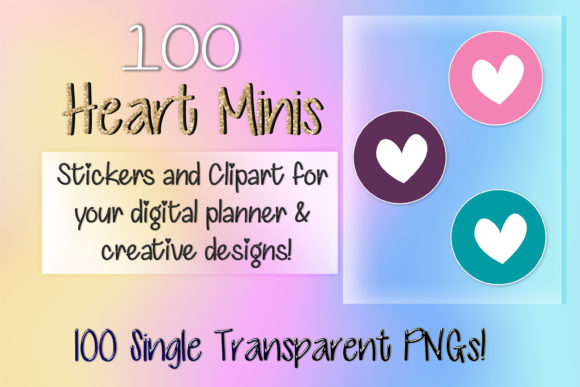 Print on Demand: 100 Heart Clipart Planner Stickers Graphic Print Templates By AM Digital Designs