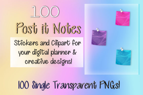 Print on Demand: 100 Marble Post It Note Digital Stickers Graphic Print Templates By AM Digital Designs